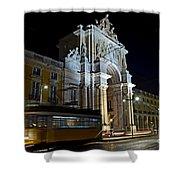 Lisbon - Portugal - Street Cars At Praca Do Comercio Or Terreiro Shower Curtain