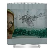 Amber Listening For Aliens At Arecibo Shower Curtain