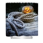 Lit Pumpkin Shower Curtain by Amanda Elwell