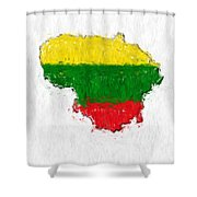 Lithuania Painted Flag Map Shower Curtain