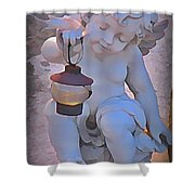Little Angels Light The Way Shower Curtain by John Malone