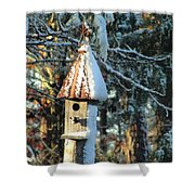 Little Birdhouse In The Woods Shower Curtain