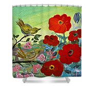 Little Birds And Poppies Shower Curtain