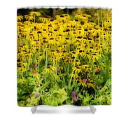 Little Bits Of Yellow Shower Curtain