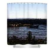 Little Black Boat Abstraction Shower Curtain