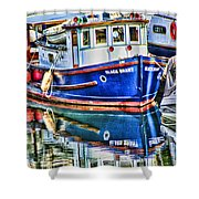 Little Blue Boat Hdr Shower Curtain