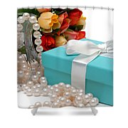 Little Blue Gift Box With Pearls And Flowers Shower Curtain