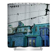Little Blue Houses Shower Curtain
