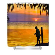 Little Boy Fishing Caye Caulker Belize Shower Curtain