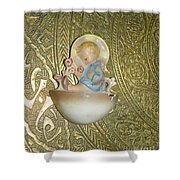 Newborn Boy In The Baptismal Font Sculpture Shower Curtain