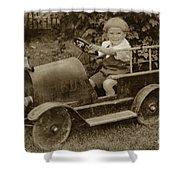 Little Boy In Toy Fire Engine Circa 1920 Shower Curtain
