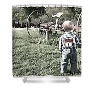 Little Boy On Farm Shower Curtain