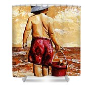 Little Boy On The Beach II Shower Curtain