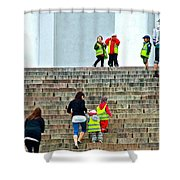 Little Children Climbing Steps Of Lutheran Cathedral Of Helsinki-finland Shower Curtain