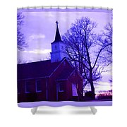 Little Church At Night Shower Curtain
