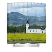 Little Church On Montana Prairie Shower Curtain