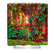 Little Country Scene Pink Flowers Climbing Leaves On Wood Fence Colors Of Quebec Art Carole Spandau Shower Curtain