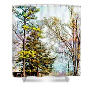Little Country Shed Shower Curtain