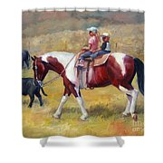 Little Cowboys Of Ruby Valley Western Art Cowboy Painting Shower Curtain