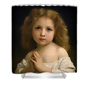 Little Girl And Her Prayer Shower Curtain