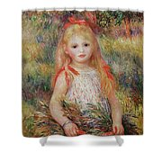 Little Girl Carrying Flowers Shower Curtain by Pierre Auguste Renoir
