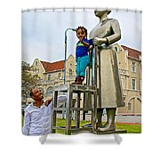 Little Girl Gets Close To Woman Sculpture In Donkin Reserve In Port Elizabeth-south Africa Shower Curtain