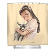 Little Girl Holding A Baby Goat Shower Curtain