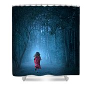 Little Girl In Red Dress Running In A Misty Forest Shower Curtain