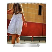 Little Girl In White Dress Shower Curtain
