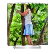 Little Girl Playing In Tree Shower Curtain