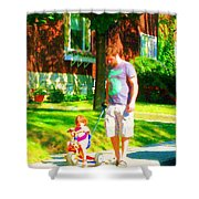 Little Girls First Bike Lesson With Dad Beautiful Tree Lined Street Summer Scene Carole Spandau  Shower Curtain