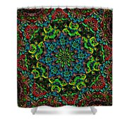 Little Green Men Kaleidoscope Shower Curtain