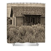 Little House In The Sage Bw Shower Curtain