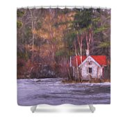 Little House On The Lake Shower Curtain
