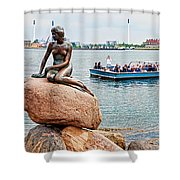 Little Mermaid Statue With Tourboat Shower Curtain