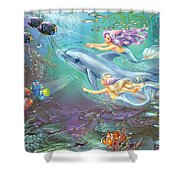 Little Mermaids And Dolphin Shower Curtain