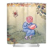 Little Miss Muffet Shower Curtain by Leonard Leslie Brooke