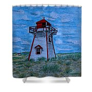 Little Red And White Lighthouse Shower Curtain