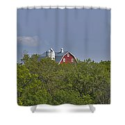 Little Red Barn In The Vale Shower Curtain
