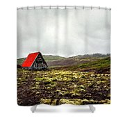 Little Red Cabin Shower Curtain