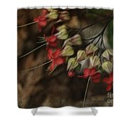 Little Red Flowers Shower Curtain