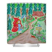 Little Red Riding Hood With Grandma's House On Mailbox Shower Curtain