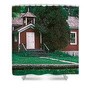 Little Red Schoolhouse Shower Curtain
