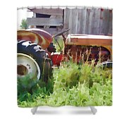 Little Red Tractor Shower Curtain