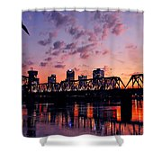 Little Rock Bridge Sunset Shower Curtain