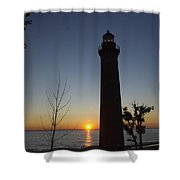 Little Sable Lighthouse At Sunset Shower Curtain