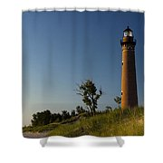 Little Sable Lighthouse By Silver Lake Michigan No.557 Shower Curtain