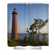 Little Sable Lighthouse By The Shore Shower Curtain