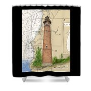 Little Sable Lighthouse Lake Mi Nautical Chart Map Art Cathy Peek Shower Curtain