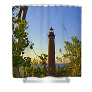 Little Sable Lighthouse Seen Through The Trees Shower Curtain
